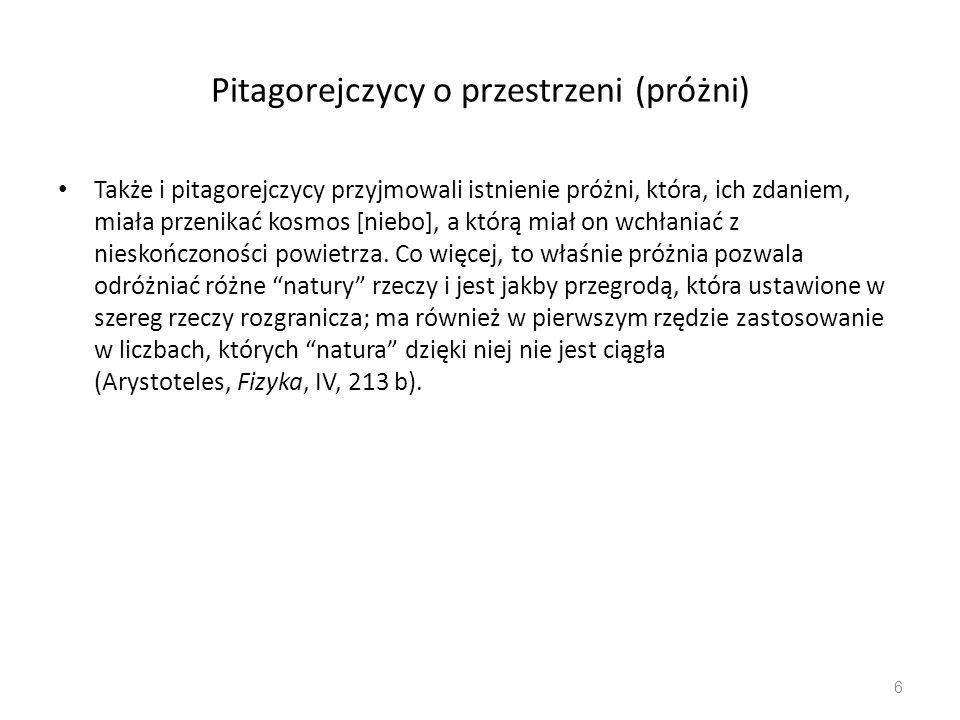 Pitagorejczycy o przestrzeni (próżni)