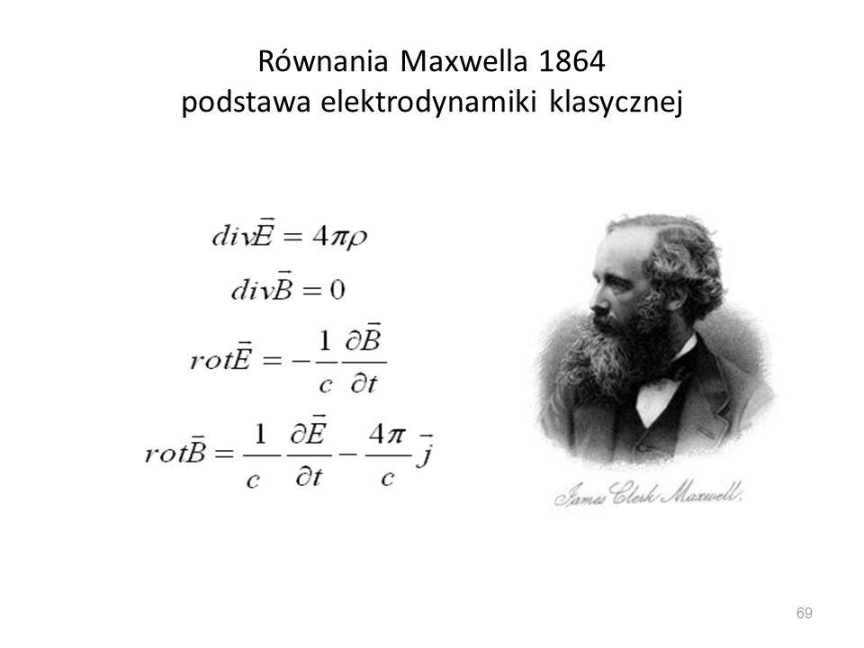 Równania Maxwella 1864 podstawa elektrodynamiki klasycznej