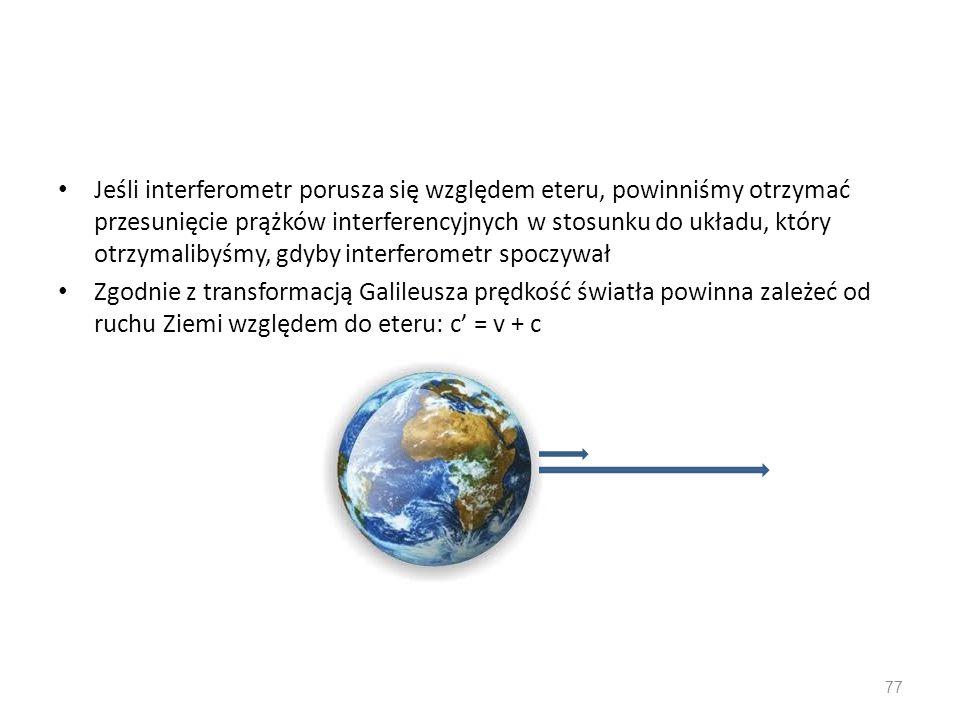 Jeśli interferometr porusza się względem eteru, powinniśmy otrzymać przesunięcie prążków interferencyjnych w stosunku do układu, który otrzymalibyśmy, gdyby interferometr spoczywał