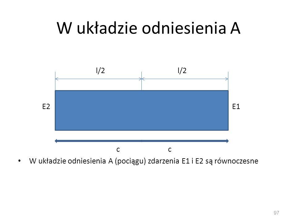 W układzie odniesienia A