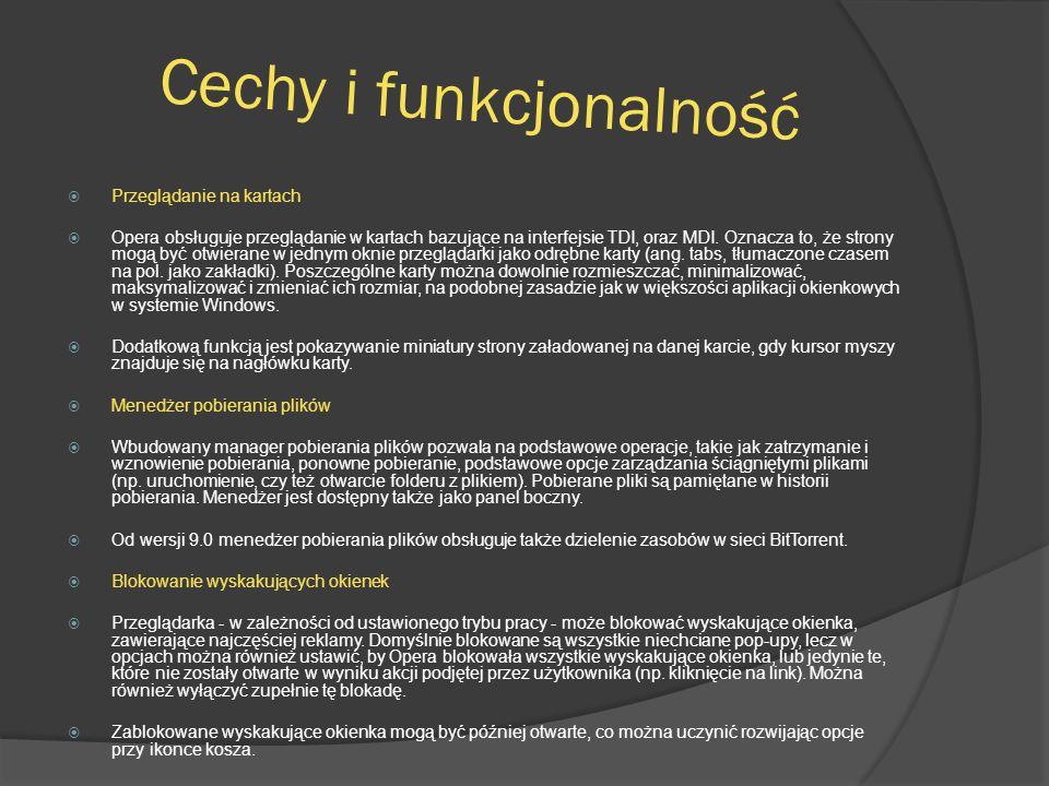 Cechy i funkcjonalność