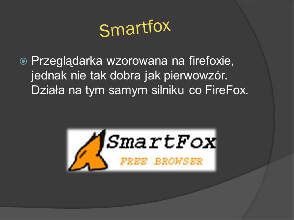 Smartfox Przeglądarka wzorowana na firefoxie, jednak nie tak dobra jak pierwowzór.