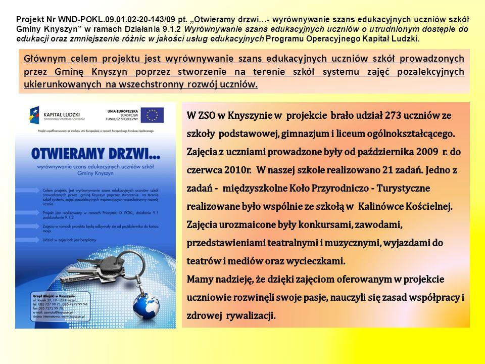 Projekt Nr WND-POKL. 09. 01. 02-20-143/09 pt