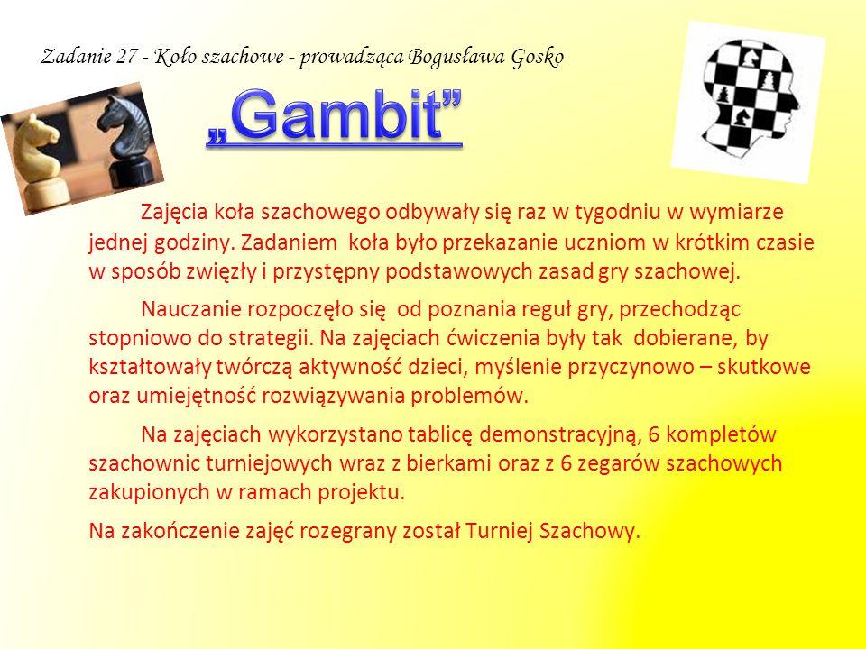 Zadanie 27 - Koło szachowe - prowadząca Bogusława Gosko