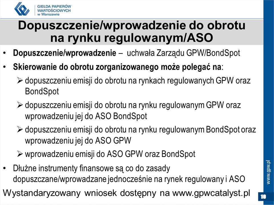 Dopuszczenie/wprowadzenie do obrotu na rynku regulowanym/ASO