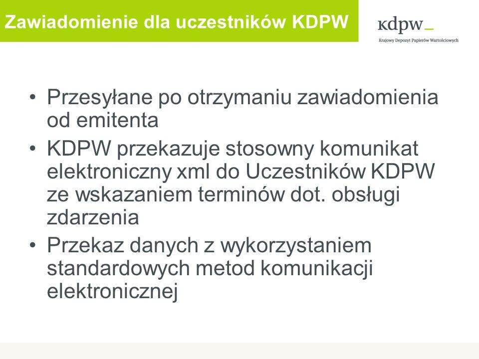 Zawiadomienie dla uczestników KDPW