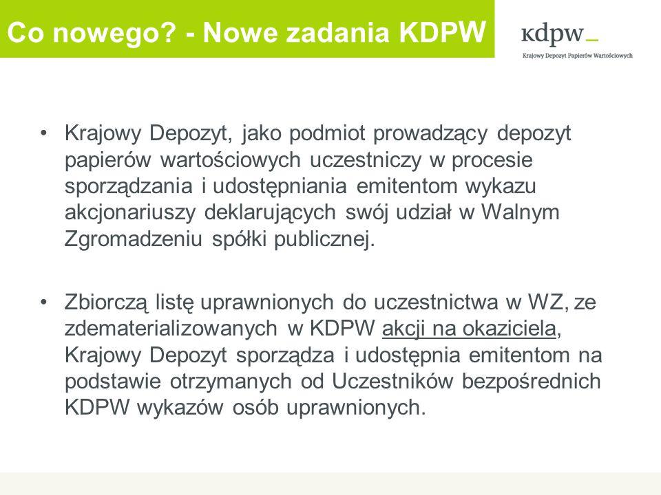 Co nowego - Nowe zadania KDPW