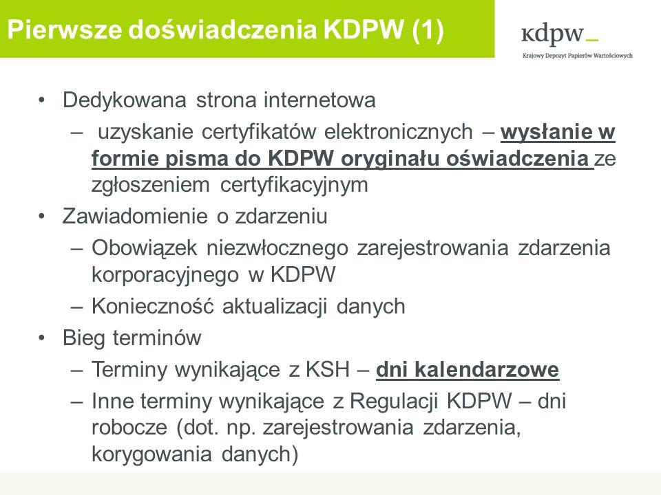 Pierwsze doświadczenia KDPW (1)