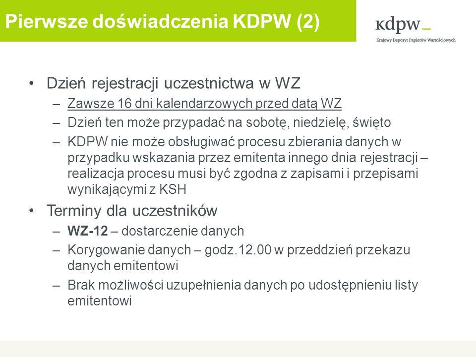 Pierwsze doświadczenia KDPW (2)