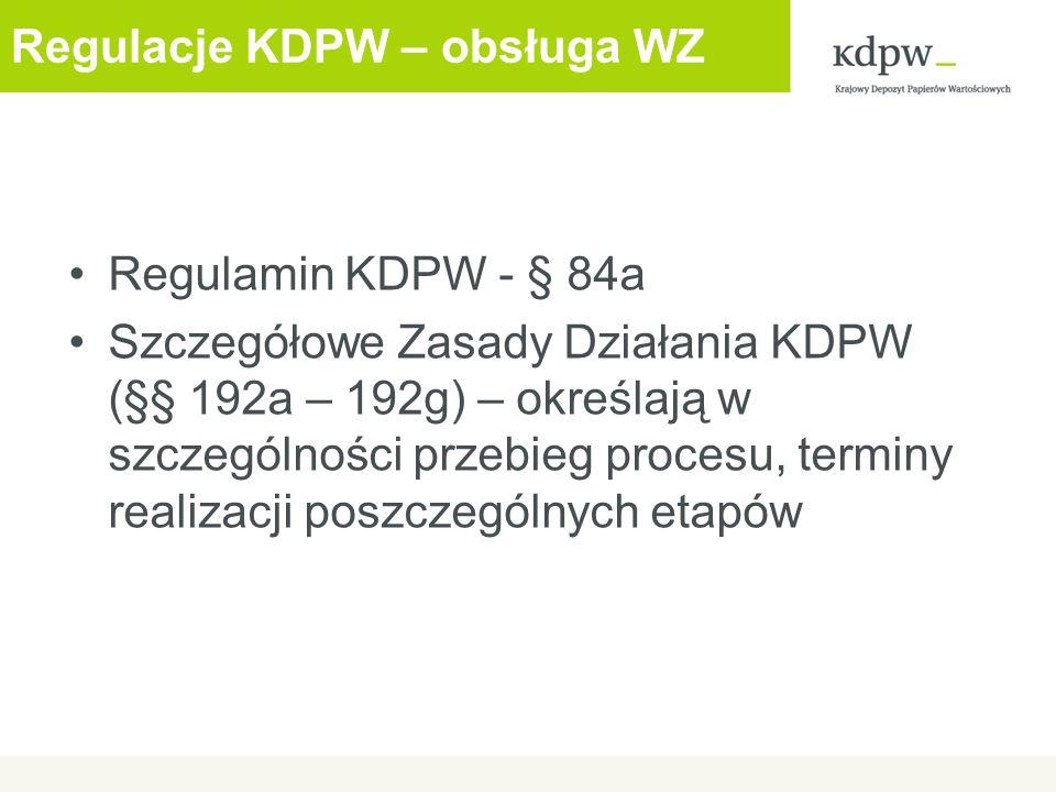 Regulacje KDPW – obsługa WZ