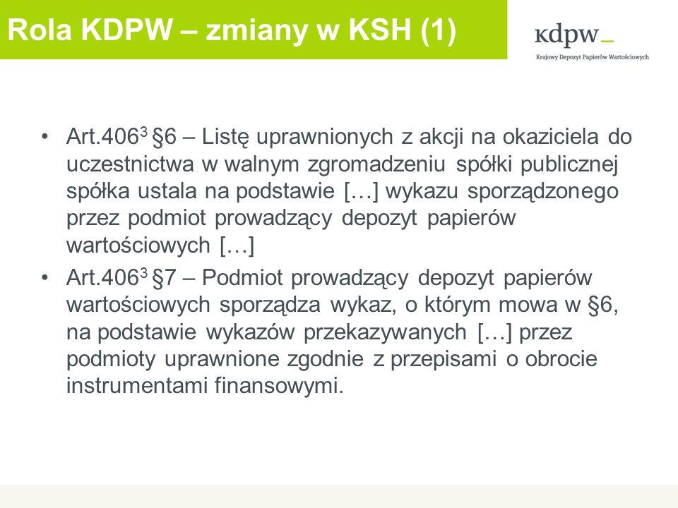 Rola KDPW – zmiany w KSH (1)
