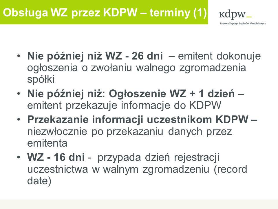 Obsługa WZ przez KDPW – terminy (1)