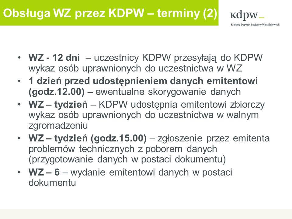 Obsługa WZ przez KDPW – terminy (2)