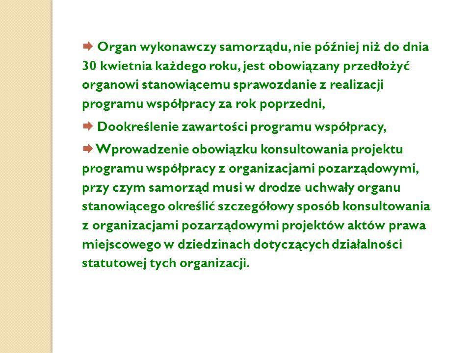  Organ wykonawczy samorządu, nie później niż do dnia 30 kwietnia każdego roku, jest obowiązany przedłożyć organowi stanowiącemu sprawozdanie z realizacji programu współpracy za rok poprzedni,
