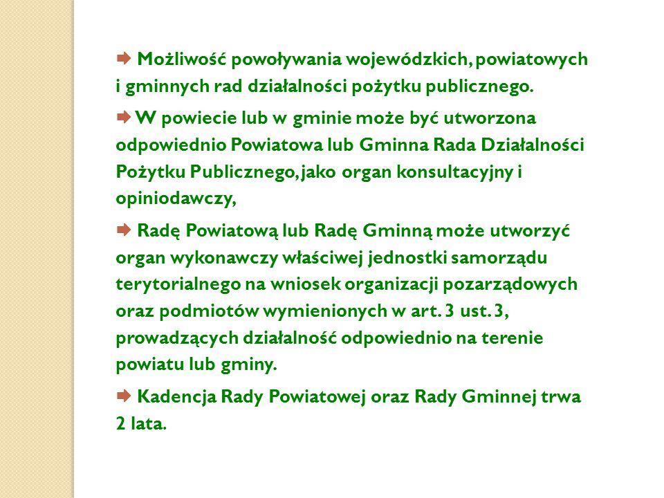  Możliwość powoływania wojewódzkich, powiatowych i gminnych rad działalności pożytku publicznego.