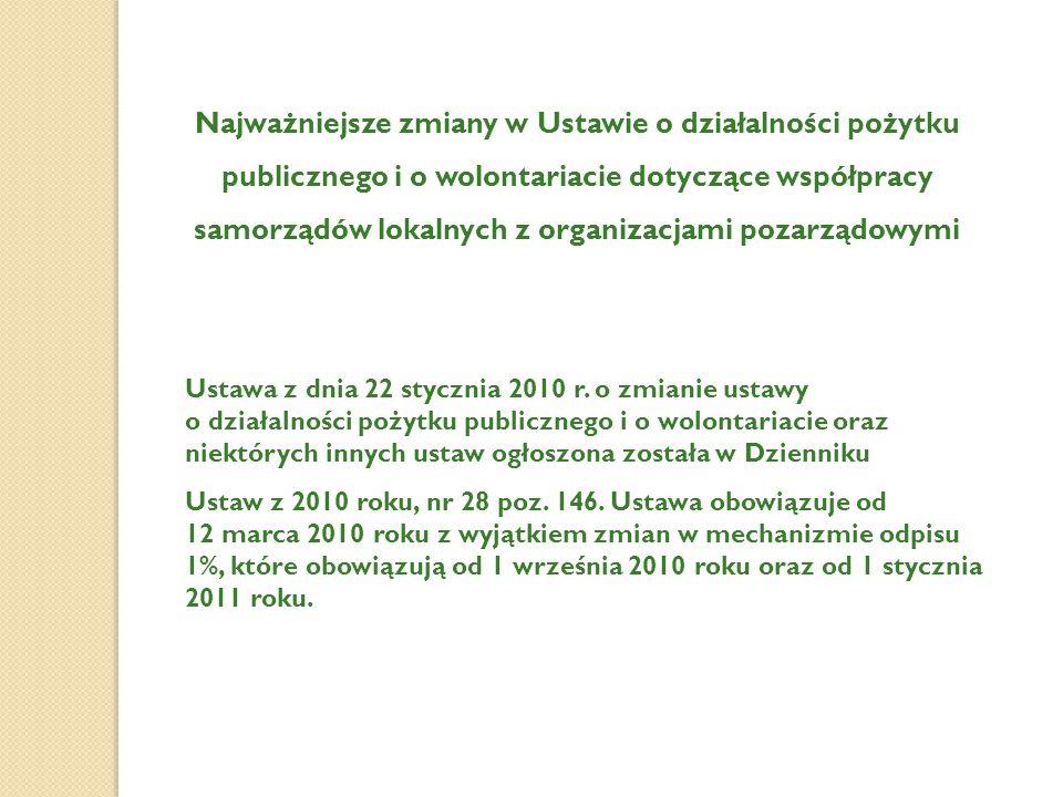 Najważniejsze zmiany w Ustawie o działalności pożytku publicznego i o wolontariacie dotyczące współpracy samorządów lokalnych z organizacjami pozarządowymi