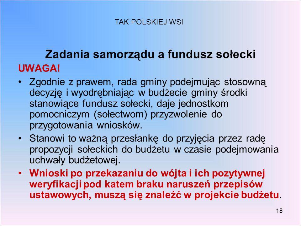 Zadania samorządu a fundusz sołecki
