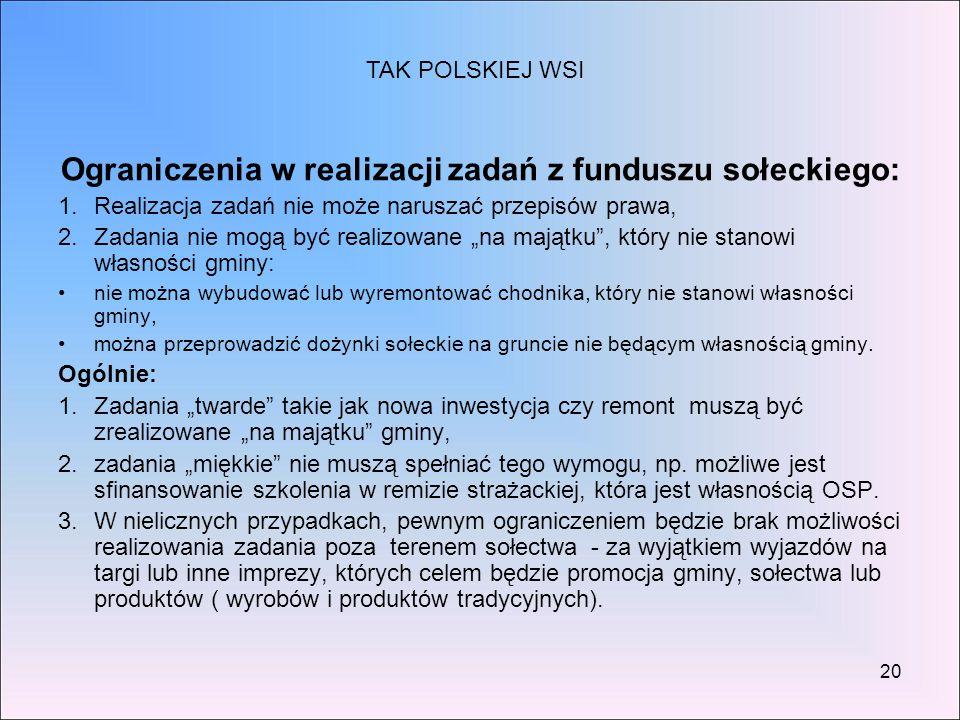 Ograniczenia w realizacji zadań z funduszu sołeckiego: