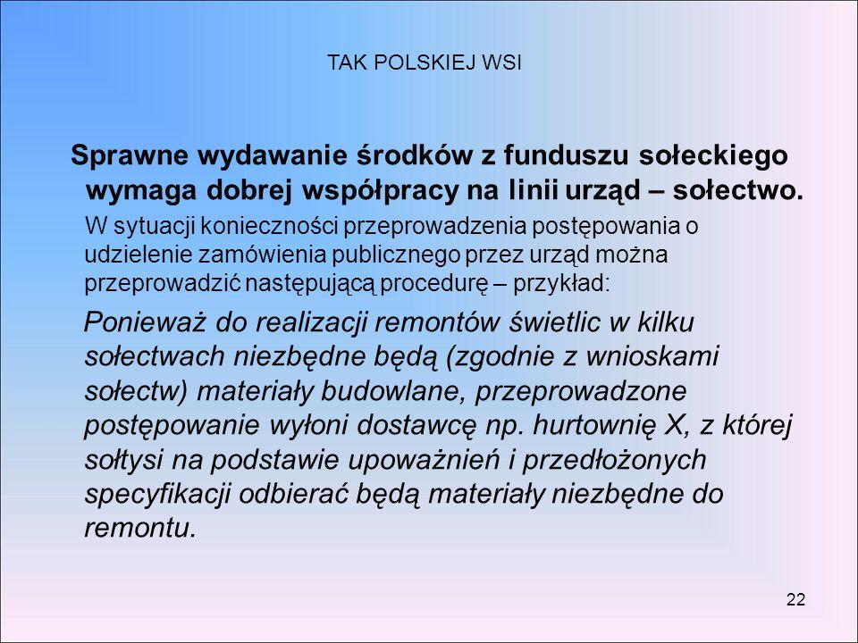 TAK POLSKIEJ WSI Sprawne wydawanie środków z funduszu sołeckiego wymaga dobrej współpracy na linii urząd – sołectwo.