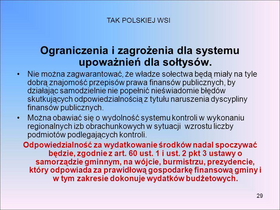 Ograniczenia i zagrożenia dla systemu upoważnień dla sołtysów.