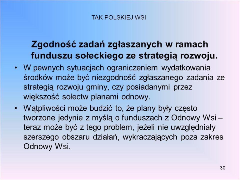 TAK POLSKIEJ WSI Zgodność zadań zgłaszanych w ramach funduszu sołeckiego ze strategią rozwoju.