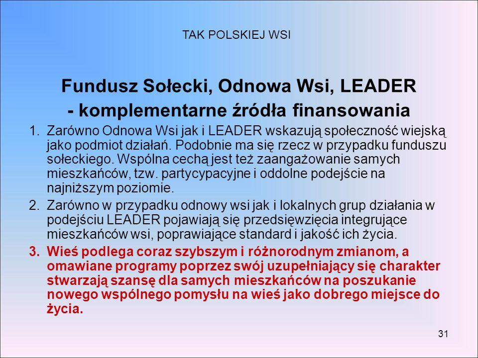Fundusz Sołecki, Odnowa Wsi, LEADER
