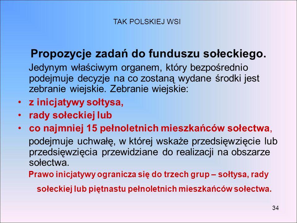 Propozycje zadań do funduszu sołeckiego.
