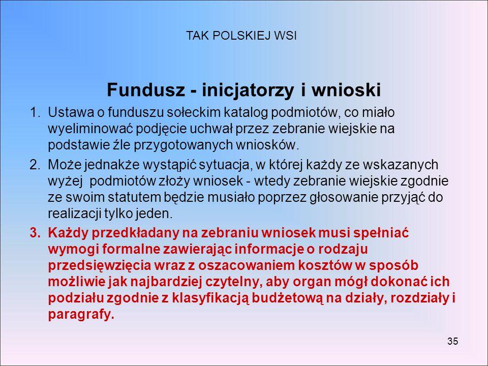 Fundusz - inicjatorzy i wnioski