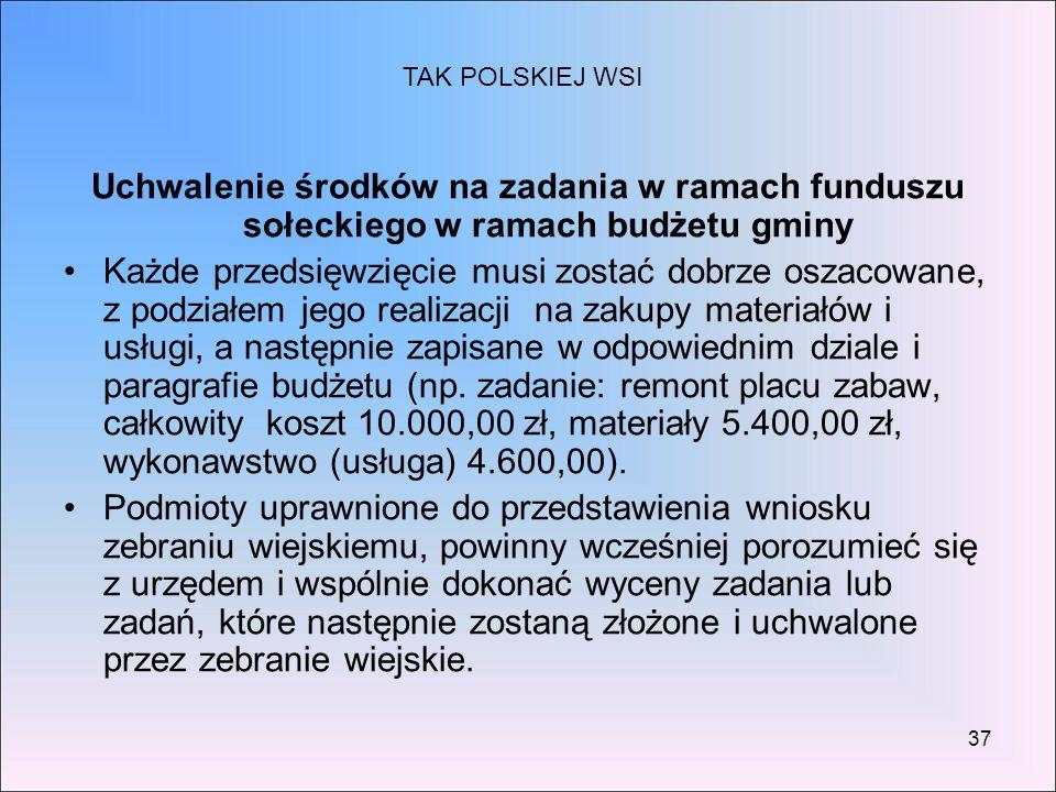 TAK POLSKIEJ WSI Uchwalenie środków na zadania w ramach funduszu sołeckiego w ramach budżetu gminy.