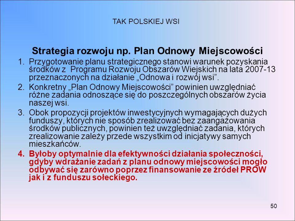 Strategia rozwoju np. Plan Odnowy Miejscowości