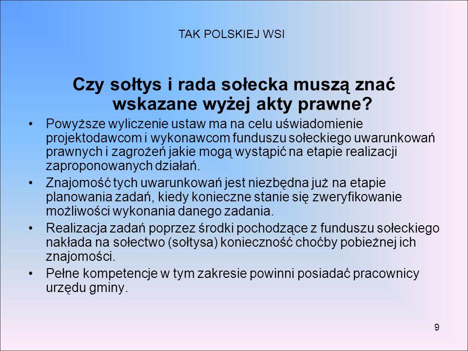 Czy sołtys i rada sołecka muszą znać wskazane wyżej akty prawne