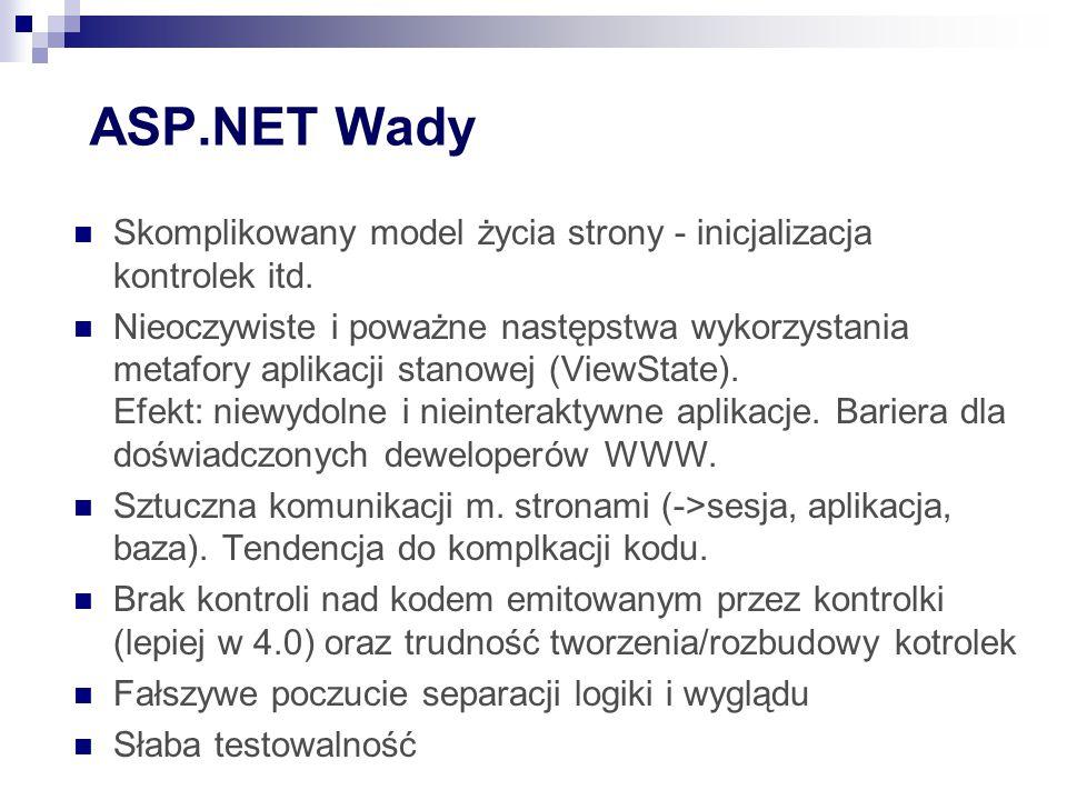 ASP.NET Wady Skomplikowany model życia strony - inicjalizacja kontrolek itd.