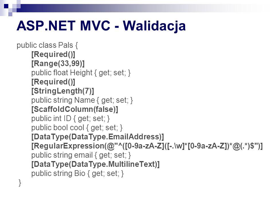 ASP.NET MVC - Walidacja