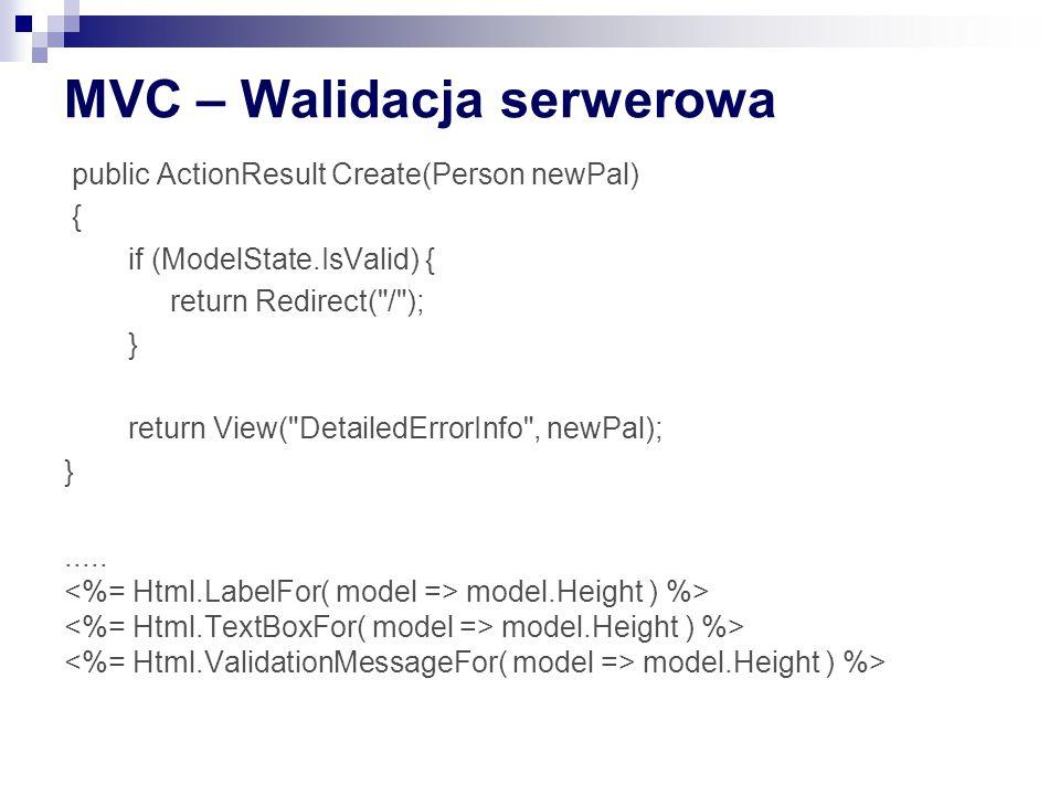 MVC – Walidacja serwerowa