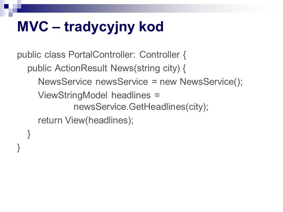 MVC – tradycyjny kod