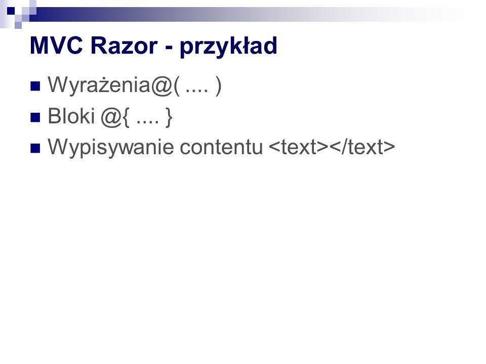 MVC Razor - przykład Wyrażenia@( .... ) Bloki @{ .... }