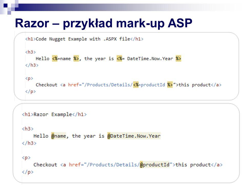 Razor – przykład mark-up ASP