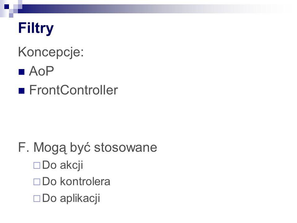 Filtry Koncepcje: AoP FrontController F. Mogą być stosowane Do akcji