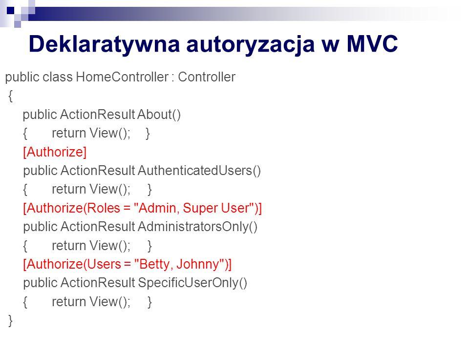 Deklaratywna autoryzacja w MVC