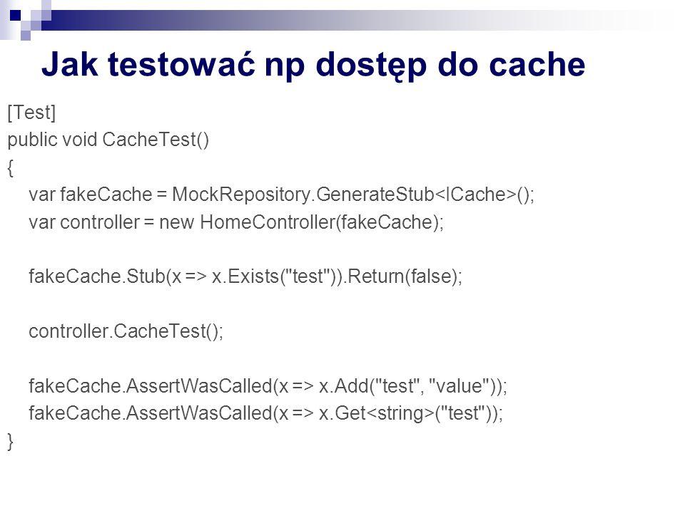 Jak testować np dostęp do cache