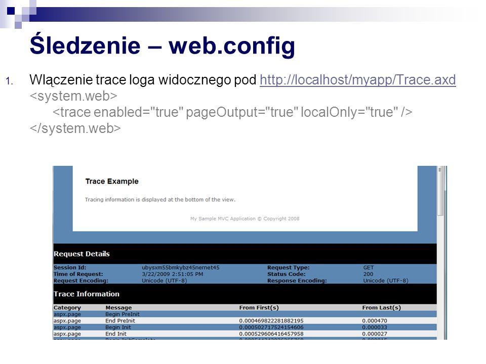 Śledzenie – web.config