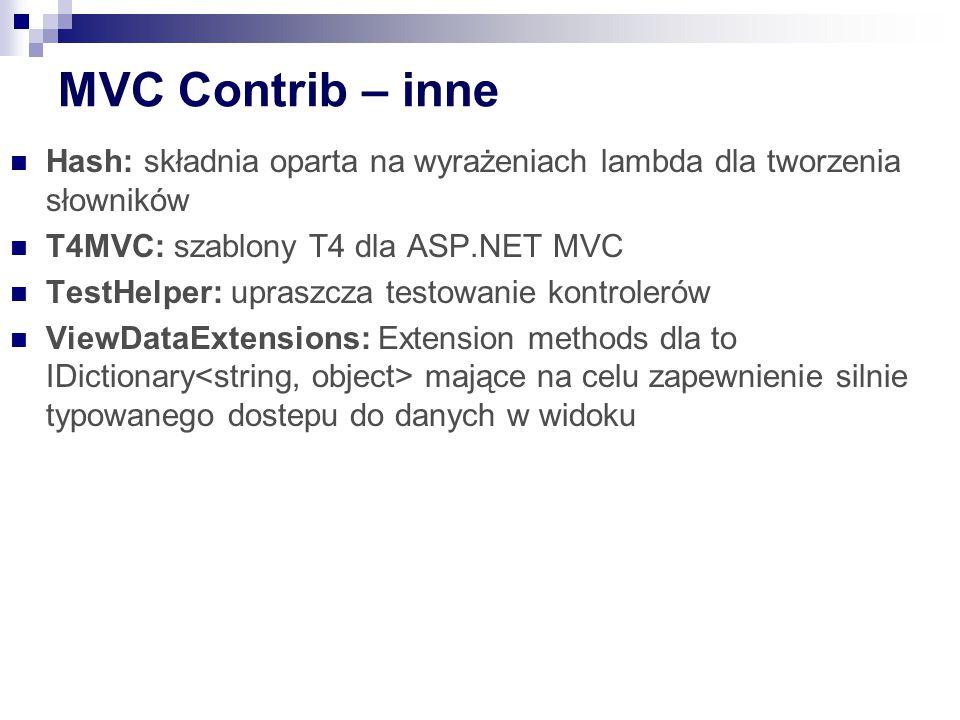 MVC Contrib – inne Hash: składnia oparta na wyrażeniach lambda dla tworzenia słowników. T4MVC: szablony T4 dla ASP.NET MVC.