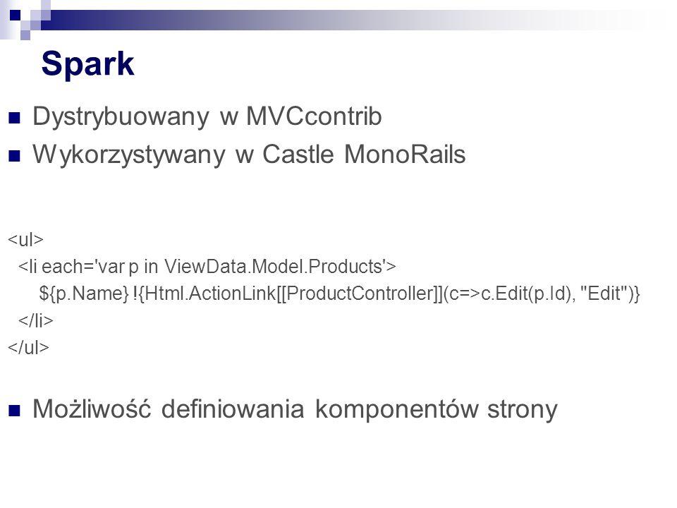 Spark Dystrybuowany w MVCcontrib Wykorzystywany w Castle MonoRails