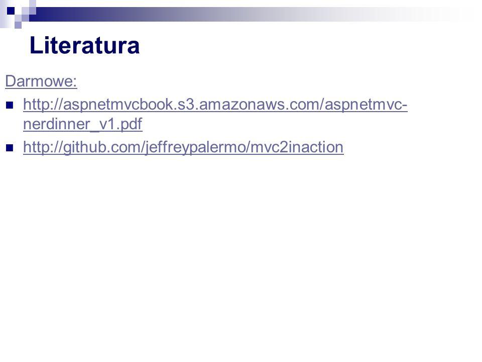 Literatura Darmowe: http://aspnetmvcbook.s3.amazonaws.com/aspnetmvc-nerdinner_v1.pdf.