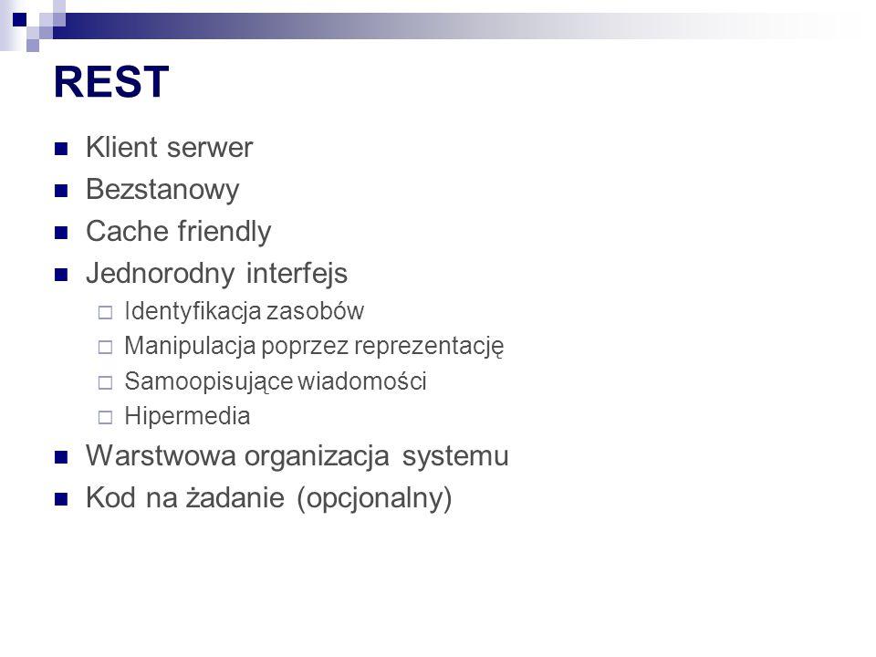 REST Klient serwer Bezstanowy Cache friendly Jednorodny interfejs