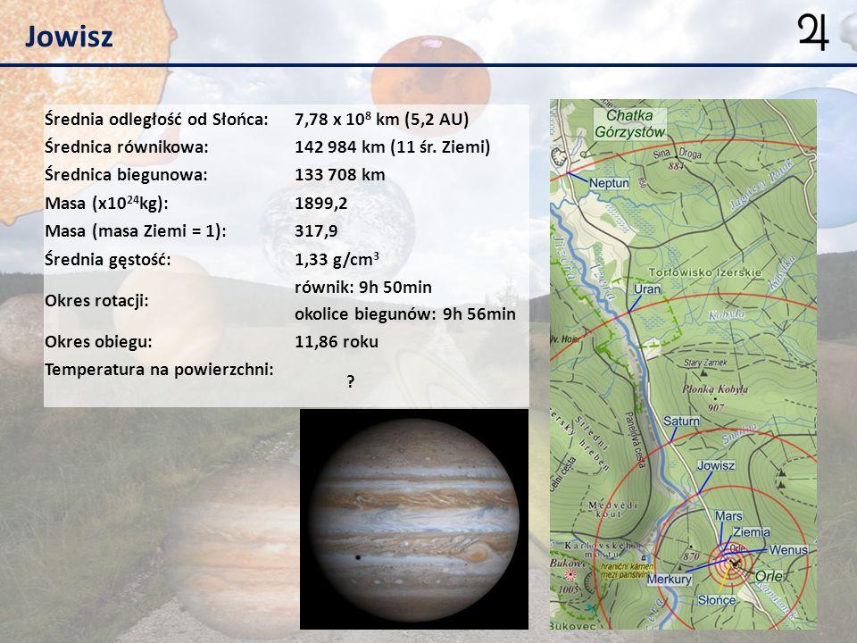 Jowisz Średnia odległość od Słońca: 7,78 x 108 km (5,2 AU)