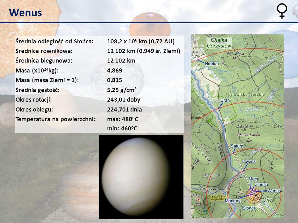 Wenus Średnia odległość od Słońca: 108,2 x 106 km (0,72 AU)