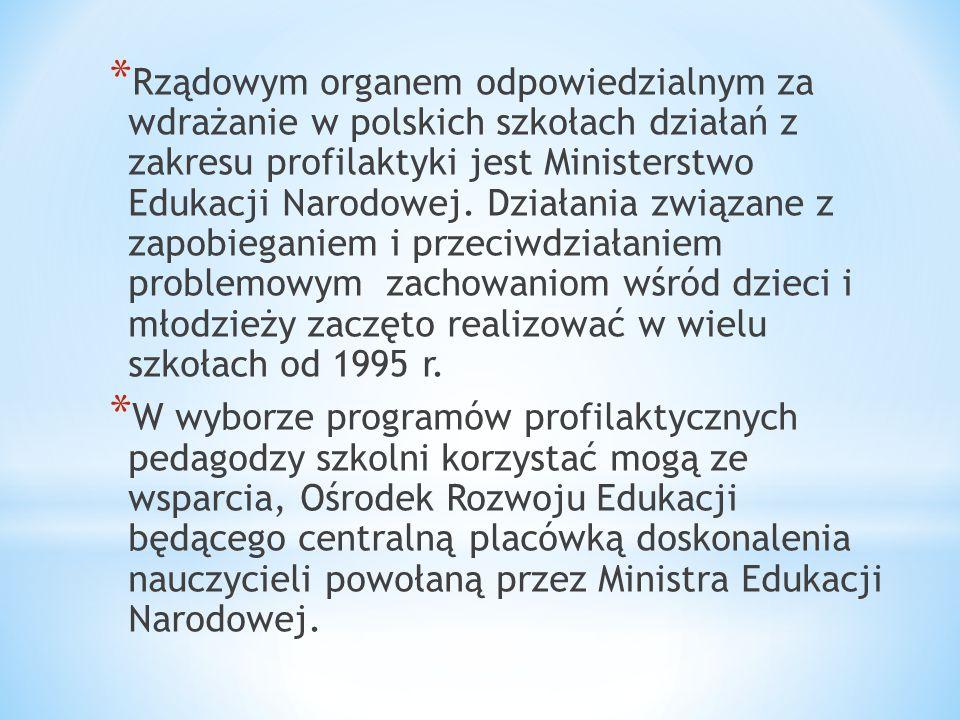 Rządowym organem odpowiedzialnym za wdrażanie w polskich szkołach działań z zakresu profilaktyki jest Ministerstwo Edukacji Narodowej. Działania związane z zapobieganiem i przeciwdziałaniem problemowym zachowaniom wśród dzieci i młodzieży zaczęto realizować w wielu szkołach od 1995 r.