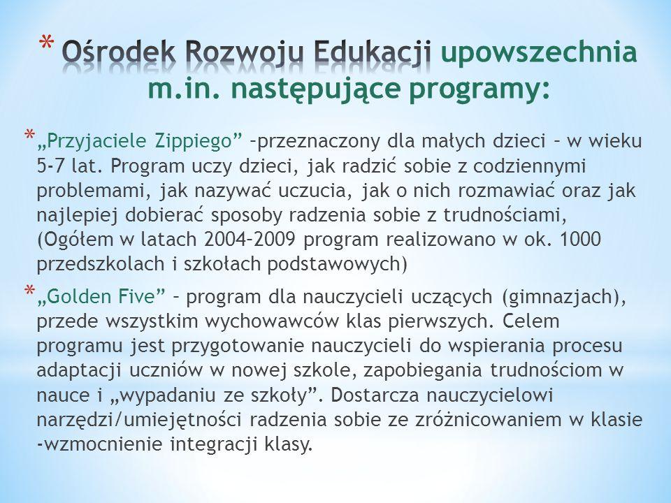 Ośrodek Rozwoju Edukacji upowszechnia m.in. następujące programy: