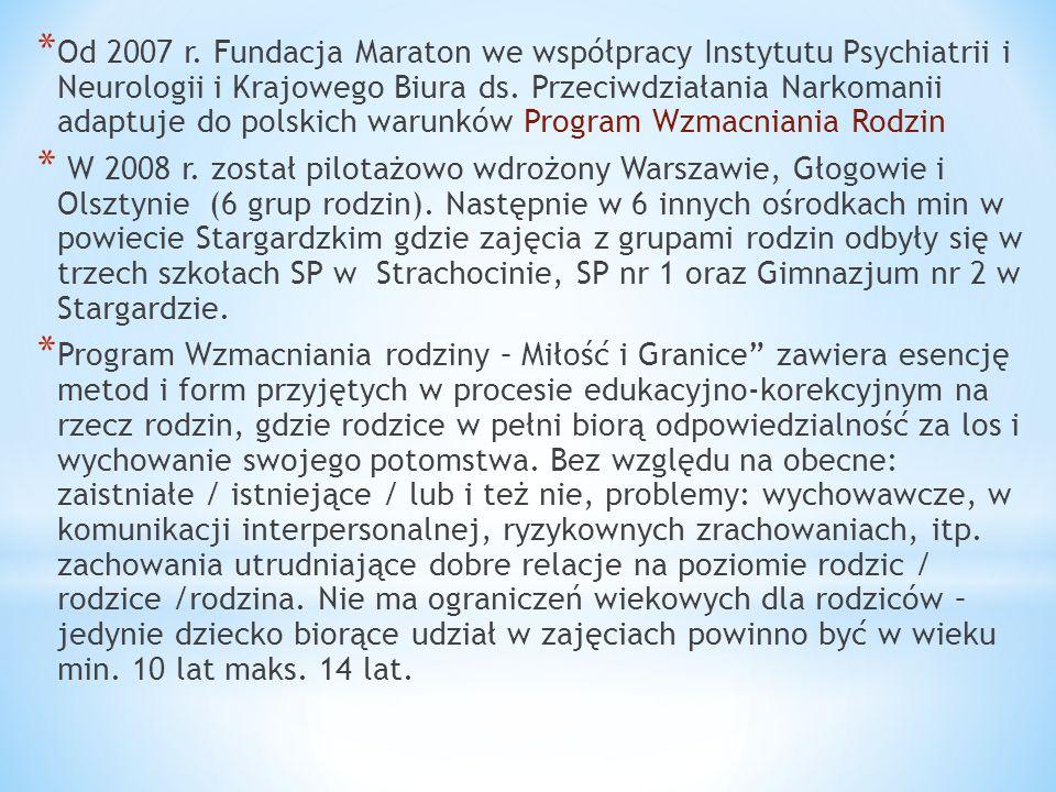 Od 2007 r. Fundacja Maraton we współpracy Instytutu Psychiatrii i Neurologii i Krajowego Biura ds. Przeciwdziałania Narkomanii adaptuje do polskich warunków Program Wzmacniania Rodzin